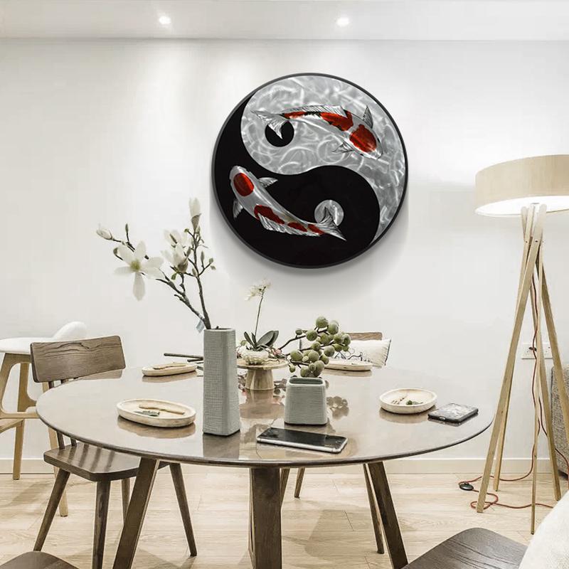 Yinyang Tai Chi Koi Circle 3D Metal Oil Painting for Interior Modern Decoration Handicraft Wall Arts