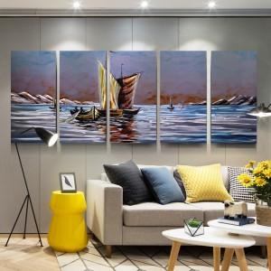 saling boat in peace lake 3D metal aluminum oil painting modern wall arts decor 100% handmade