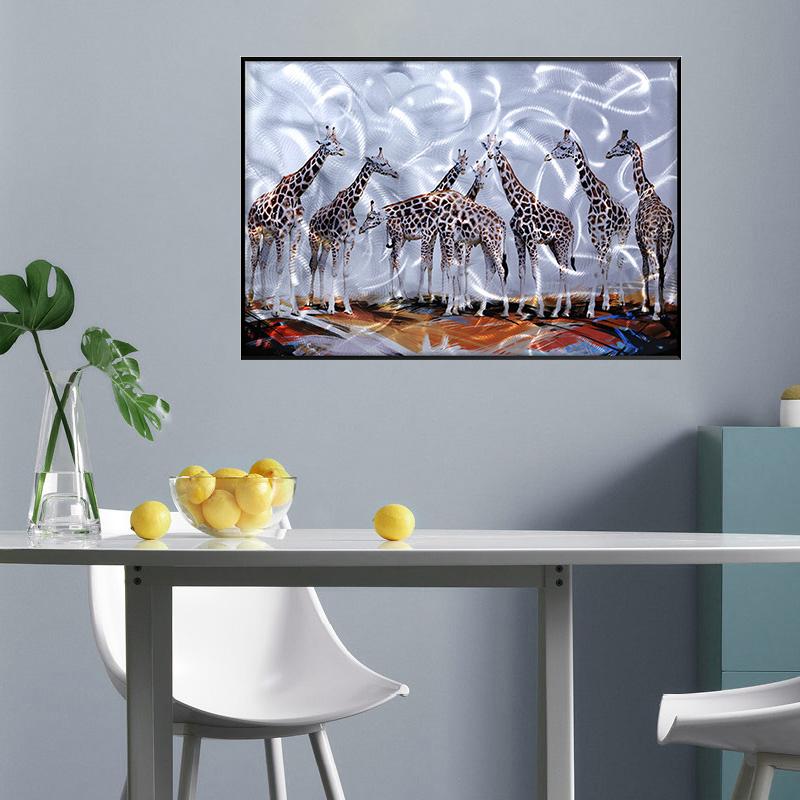3D brush print giraffe metal oil painting wall art interior decor