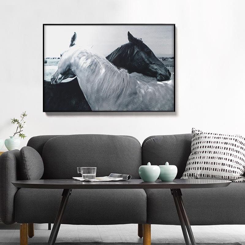 3D brush print horses metal oil painting wall art interior decor