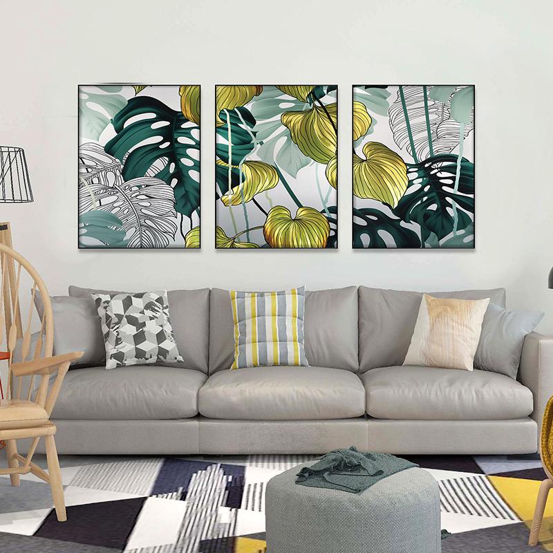 3D brush print tropical plant metal oil painting wall art interior decor
