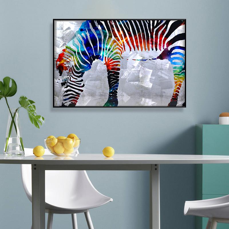 3D brush print zebra metal oil painting wall art interior decor