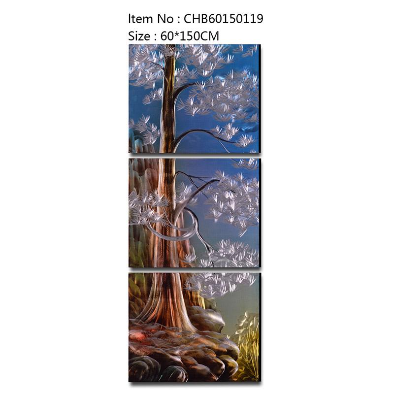 Pine tree 3D handmade oil painting modern metal wall art decoration