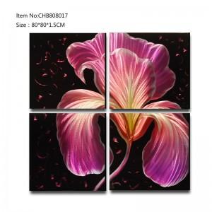 Purple 3D metal flower oil painting modern  interior home wall art decor