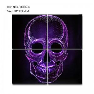 Shiny skull 3D metal purple oil painting modern  interior home wall art decor