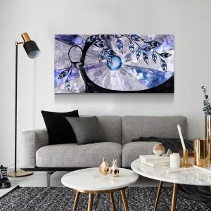 Fairy Tree 3D Blue Metal Oil Painting Modern Interior Home Wall Arts Decor