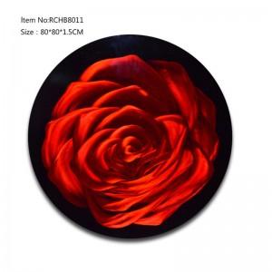 Rose red 3D circle metal oil painting wall arts handicrats