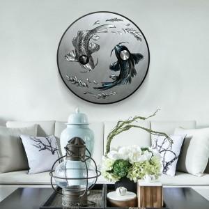 Koi Fish 3D Circle Metal Oil Painting for Interior Modern Decoration Handicraft Wall Arts